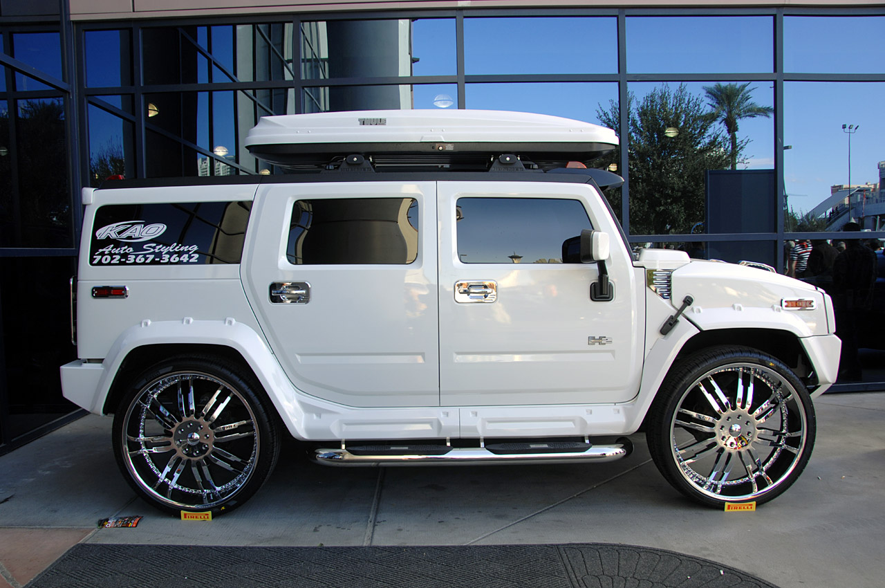 30 Inch Rims On Hummer H2 : Hummer h white sema with in wheels img it s
