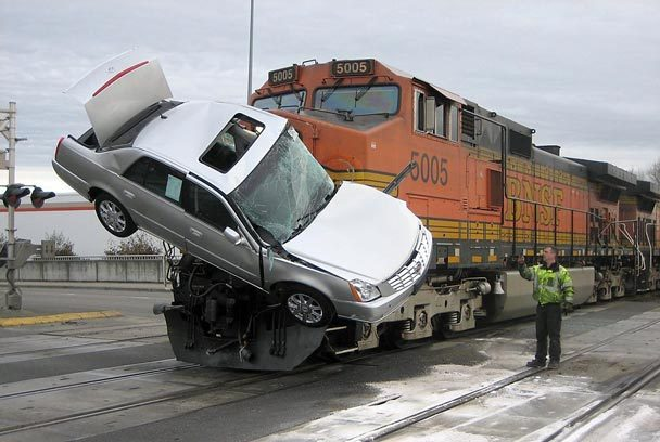 Cars Getting Smashed By Trains