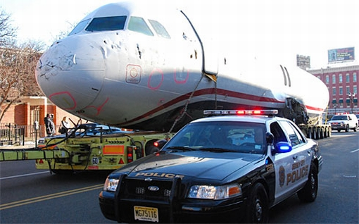 Towed US Airways Flight 1549 caught on Jersey Streets | It ...
